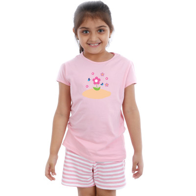 Pink Half sleeve Girls Pyjama - Sunflower